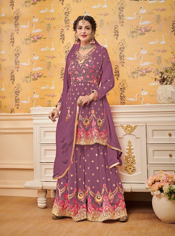 Heavy Embroidered Royal Desiger Light Purple Sharara