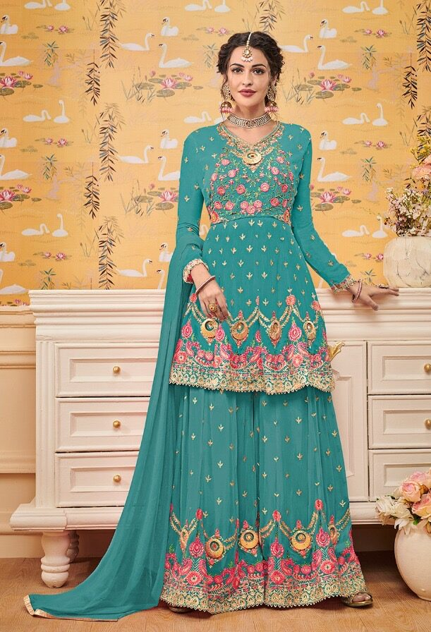 Heavy Embroidered Turquoise Colour Designer Sharara Suits