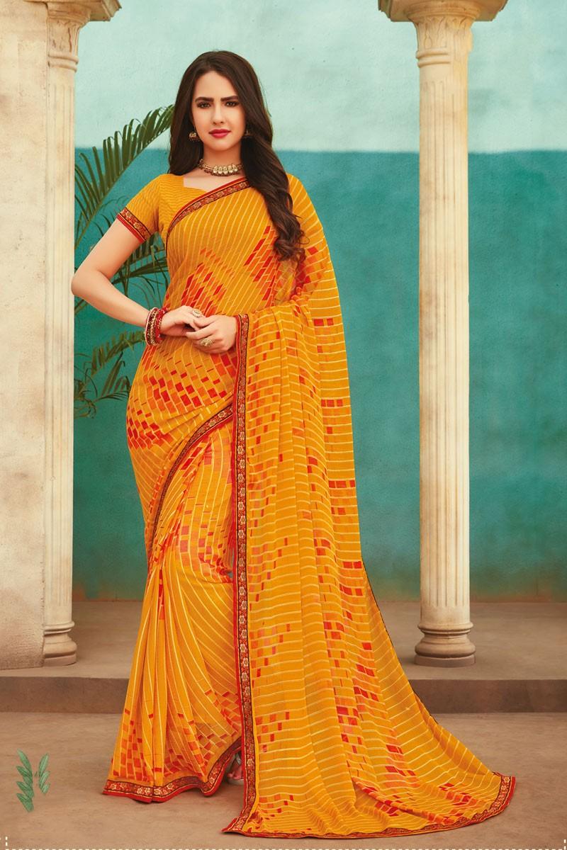 Latest Designer Yellow Chiffon Saree with Blouse