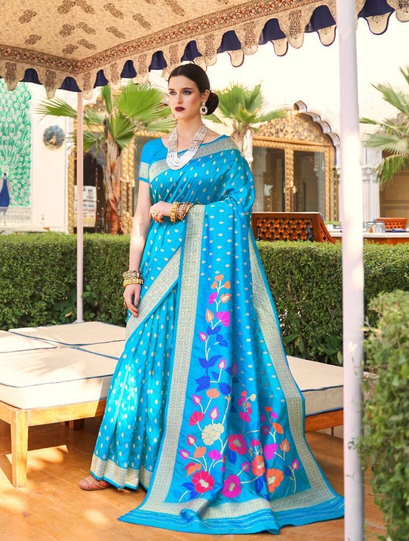 Latest Sky Blue Silk Sarees for Party Wear