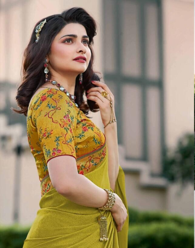 Lime Yellow Saree with Designer Blouse with Price