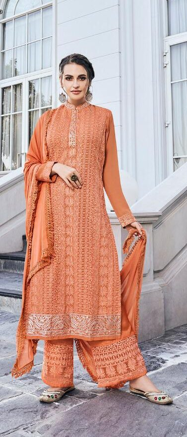 New Designer Baby Orange Lucknowi Kurti With Palazzo