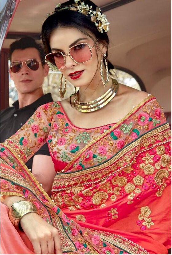 New Designer Bridal Saree Baby Pink designer Blouse