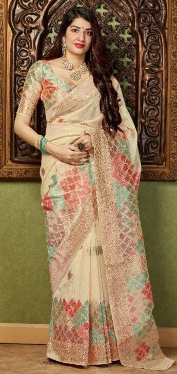 New Designer Cream Color Silk Saree