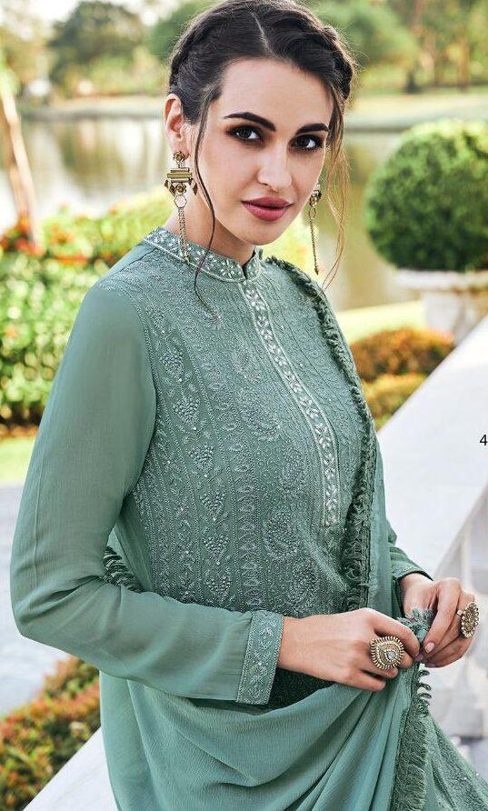 New Designer Gray Color Lucknowi Modern Suit