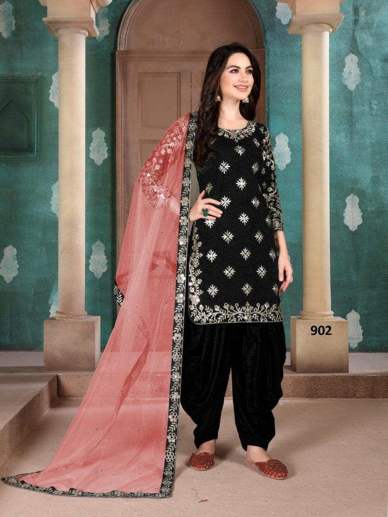 New Stitch Black Color Patiala Suit With Baby Pink Dupatta