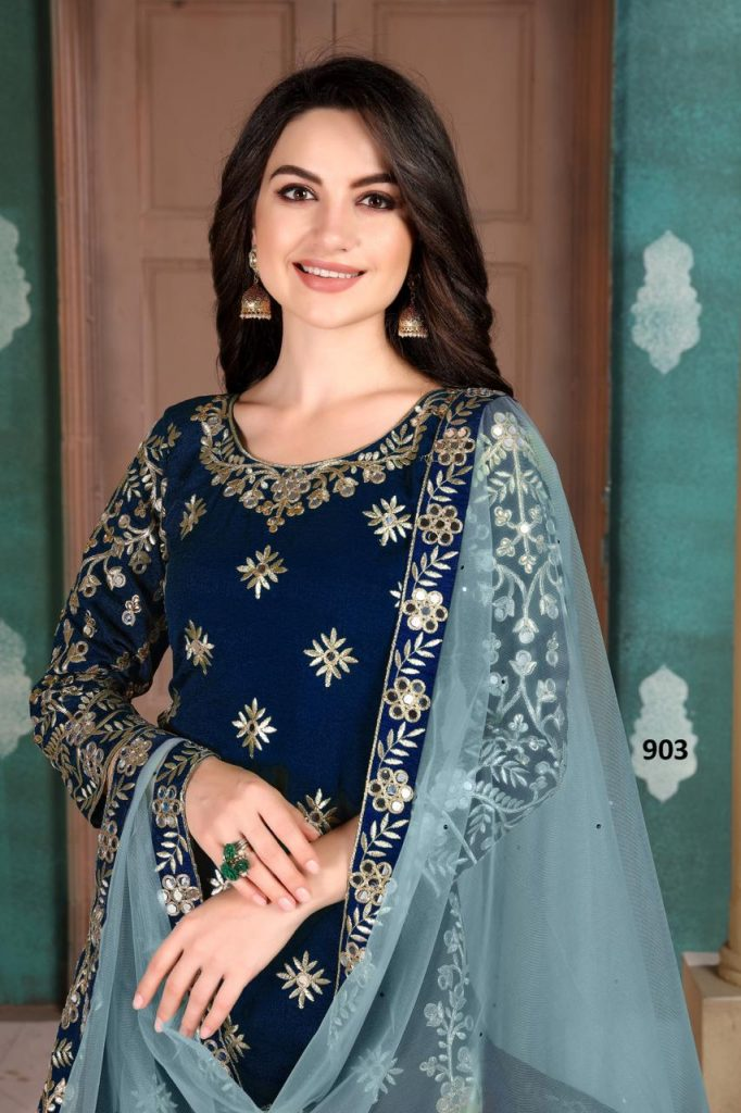 New Stitch Special blue Color Patiala Suit.