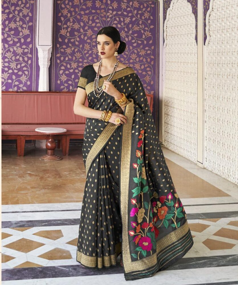 Party Wear Black Saree in Silk