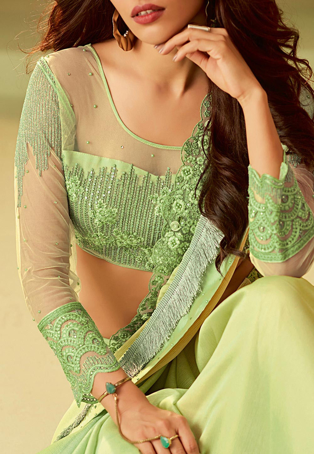 Party Wear Latest Designer Saree for Wedding in Lime Green