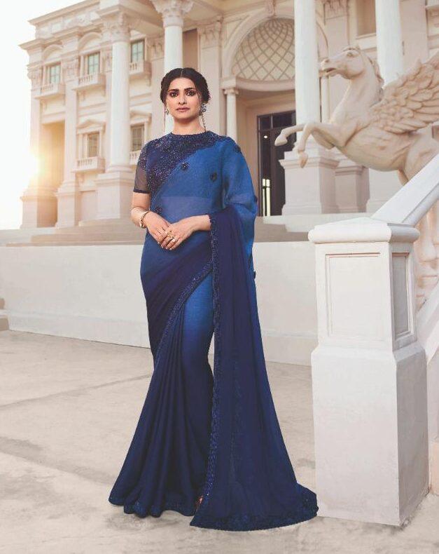 Royal Blue Designer Party Wear Saree with Designer Blouse