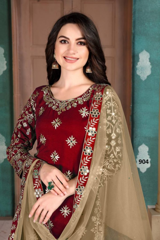 Top Red Color Patiala Suit For Wedding Party