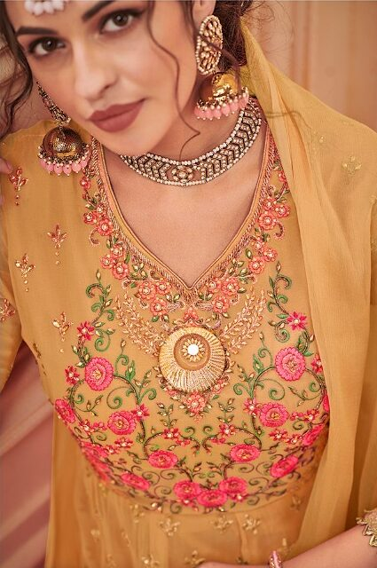 Yellow Colour Heavy Embroidered Sharara Dress With Price