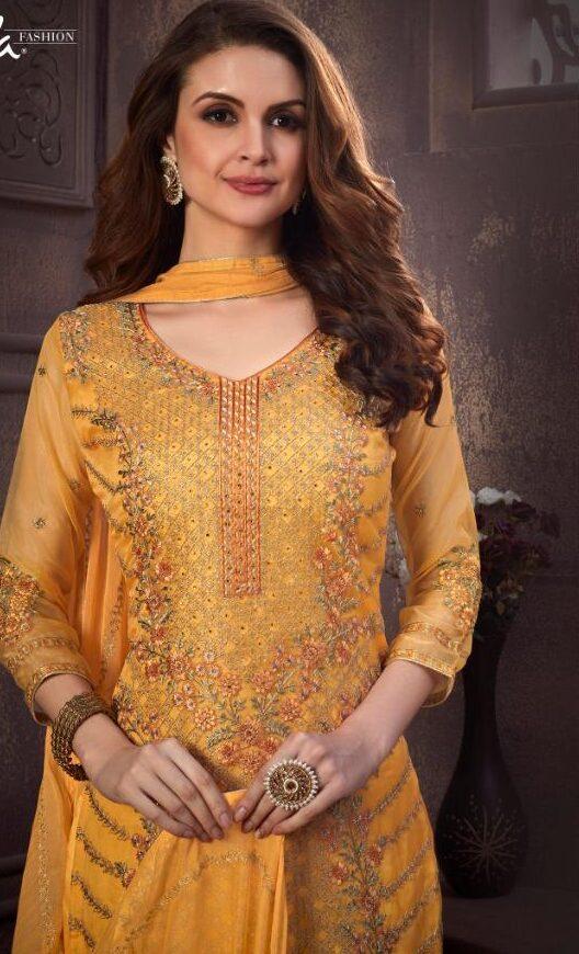 Yellow Unstitched Salwar Kameez Material Online