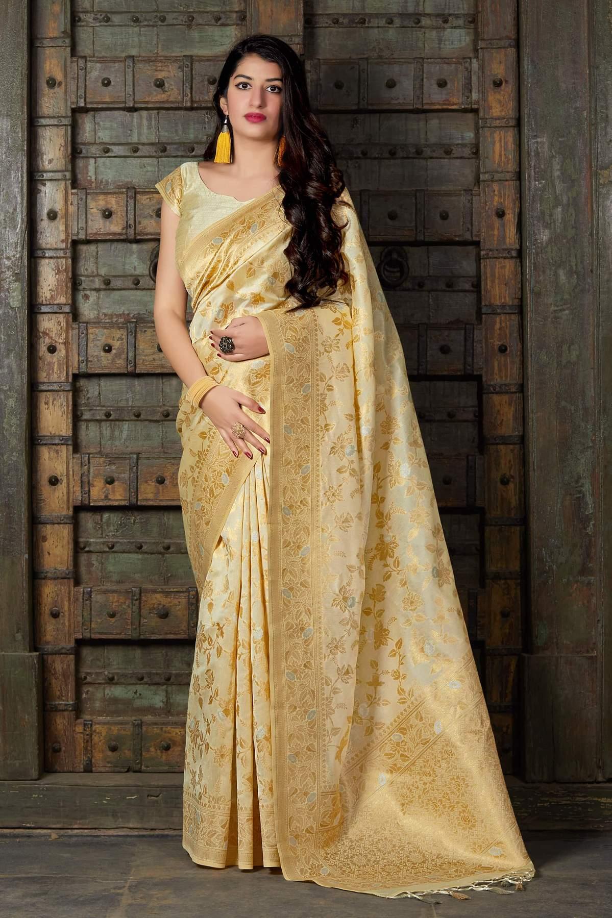 Designer Banarsi Silk Saree in Cream Colour