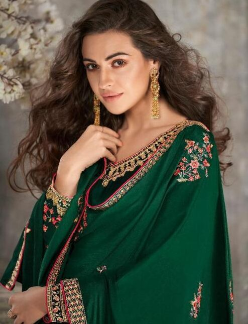 Best Embroidered Green Color Tussar Silk Dress Material Wholesale