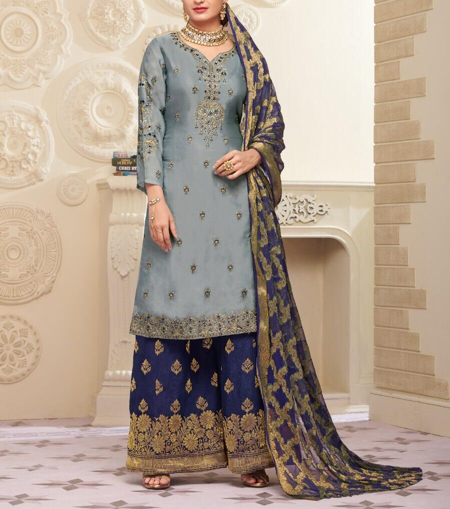 Best Salwar Suits Dresses for Karwa Chauth with Banarsi Dupatta