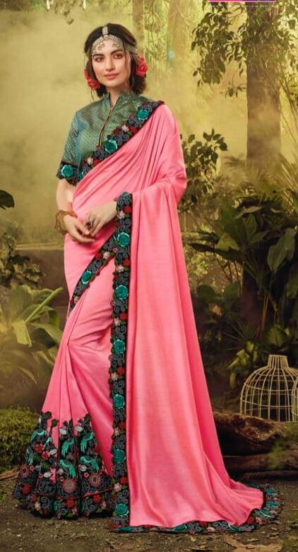 Buy online embroidered fancy silk georgette saree with fancy blouse.