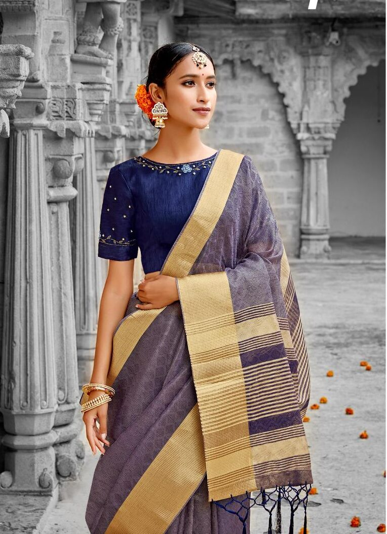 Contrast Designer Blouse with Silk Saree with Price