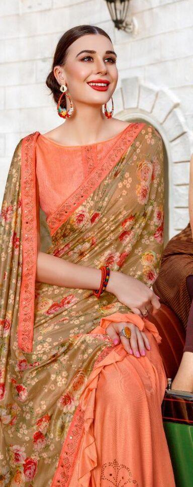 Coral Colour Ruffle Saree New Fashion in Saree Design