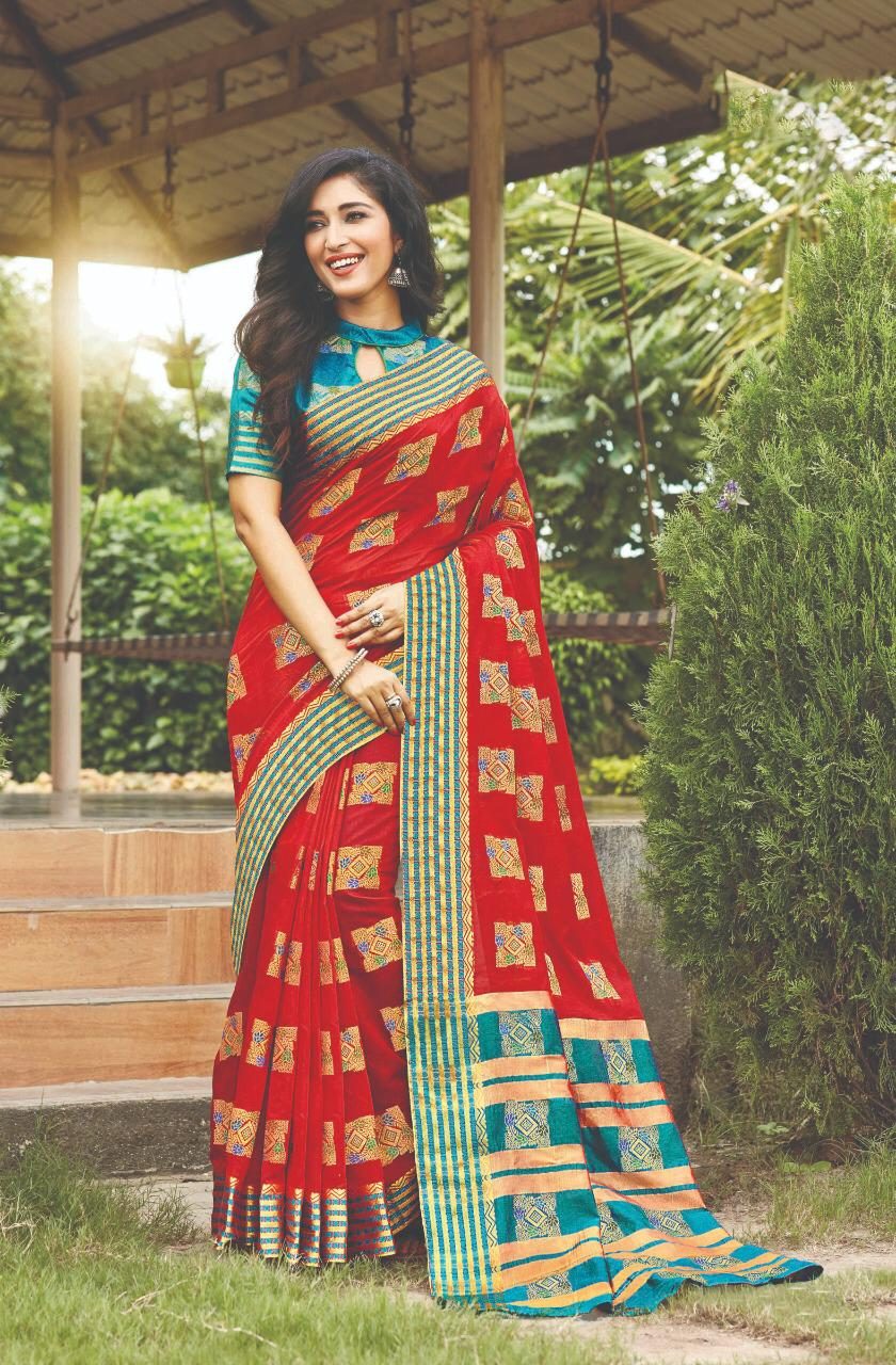 Designer Blouse with Checked Silk Saree with Multicolor