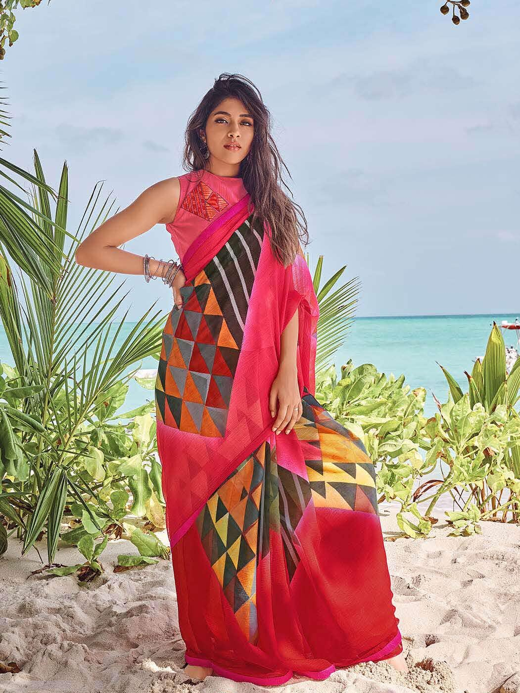 Designer Blouse with New Designer Georgette Saree Online