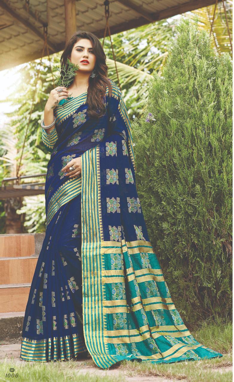Designer Check Print Blouse Party Wear Saree Under 1500