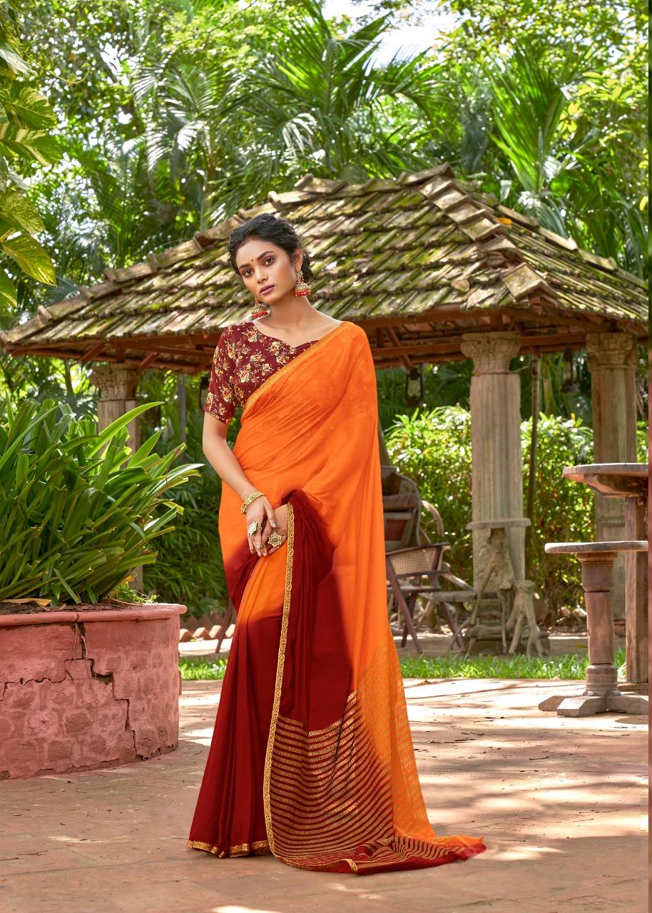 Designer Printed Contrast Blouse for Orange Plain Saree