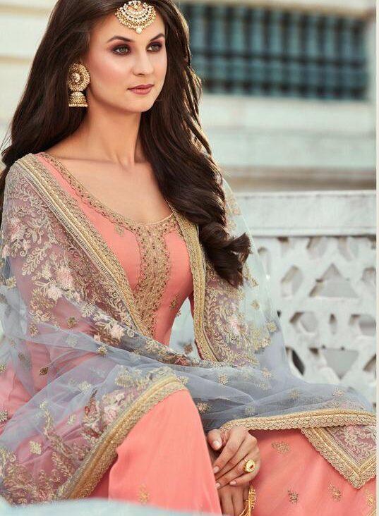 New Designer Baby Pink Color Punjabi Sahara Suit With Price