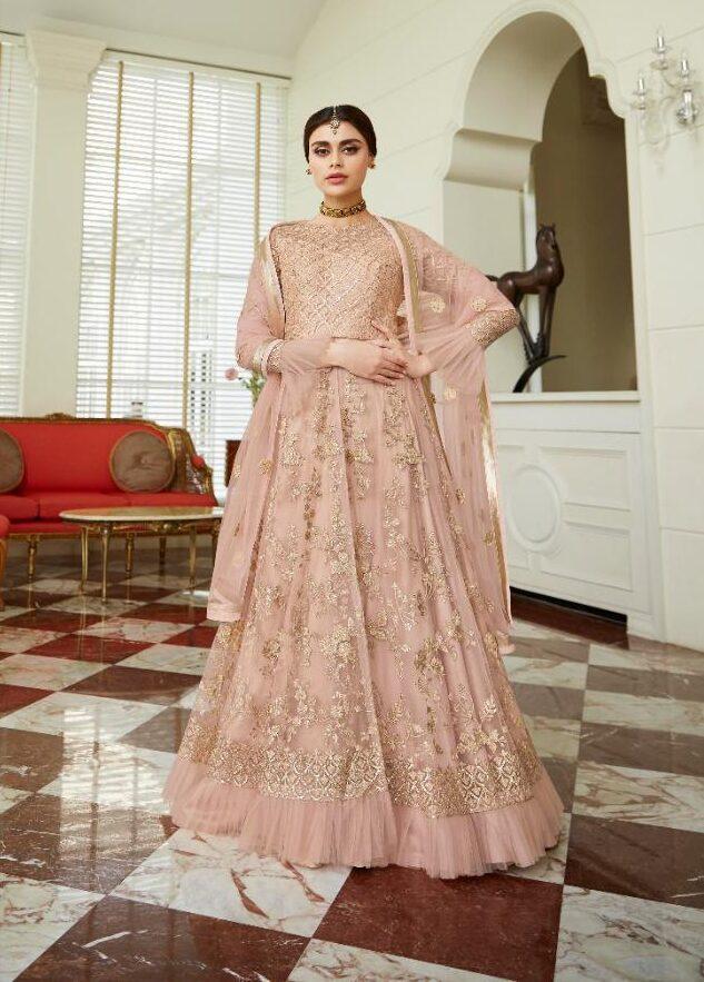 New Designer Cream Color Satin Silk Long Gown.