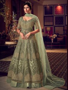 New Designer Cream Gray Reception Dress for Indian bride gown
