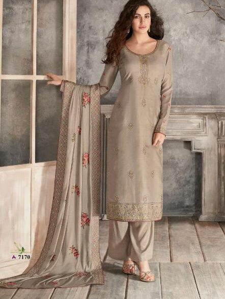 New Designer Dark Cream Color Tussar Silk Embroidered Suit
