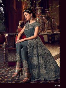 New Designer Dark Grey Color Reception Dress for Indian bride gown