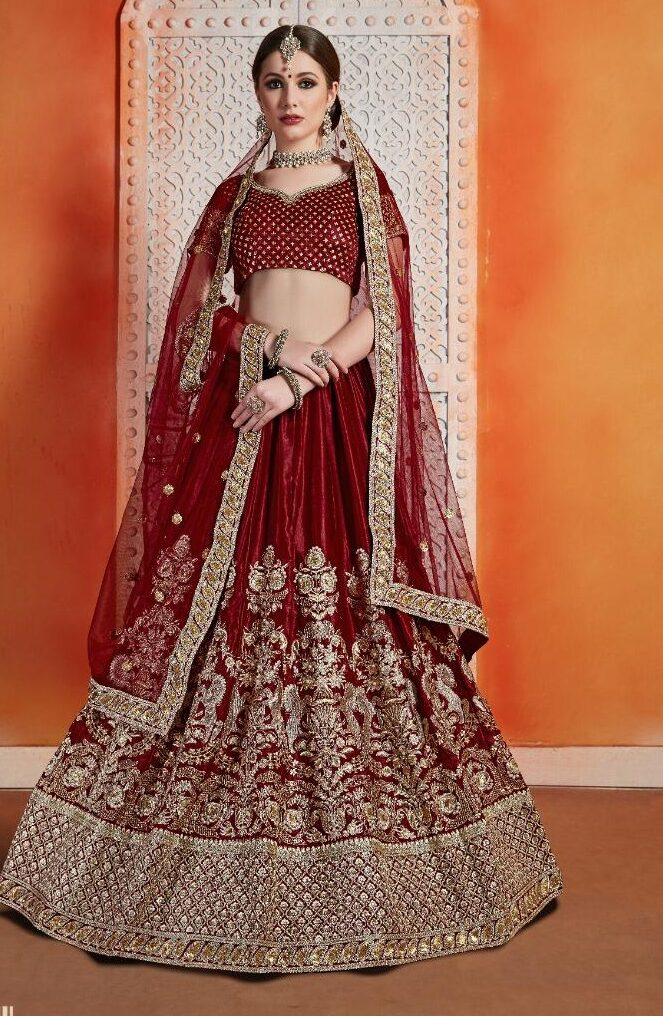 New Designer Dark red color party wear wedding lenhanga.