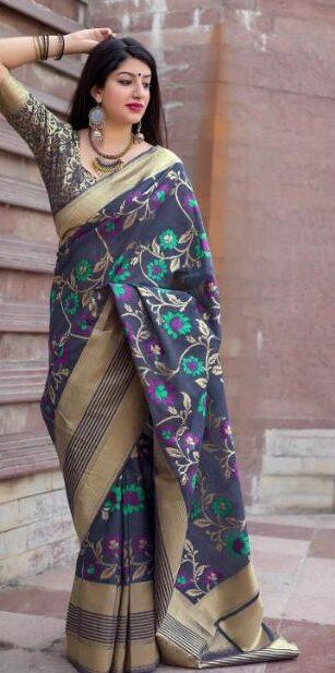 New Designer Gray Color dhakai Jamdani Saree.