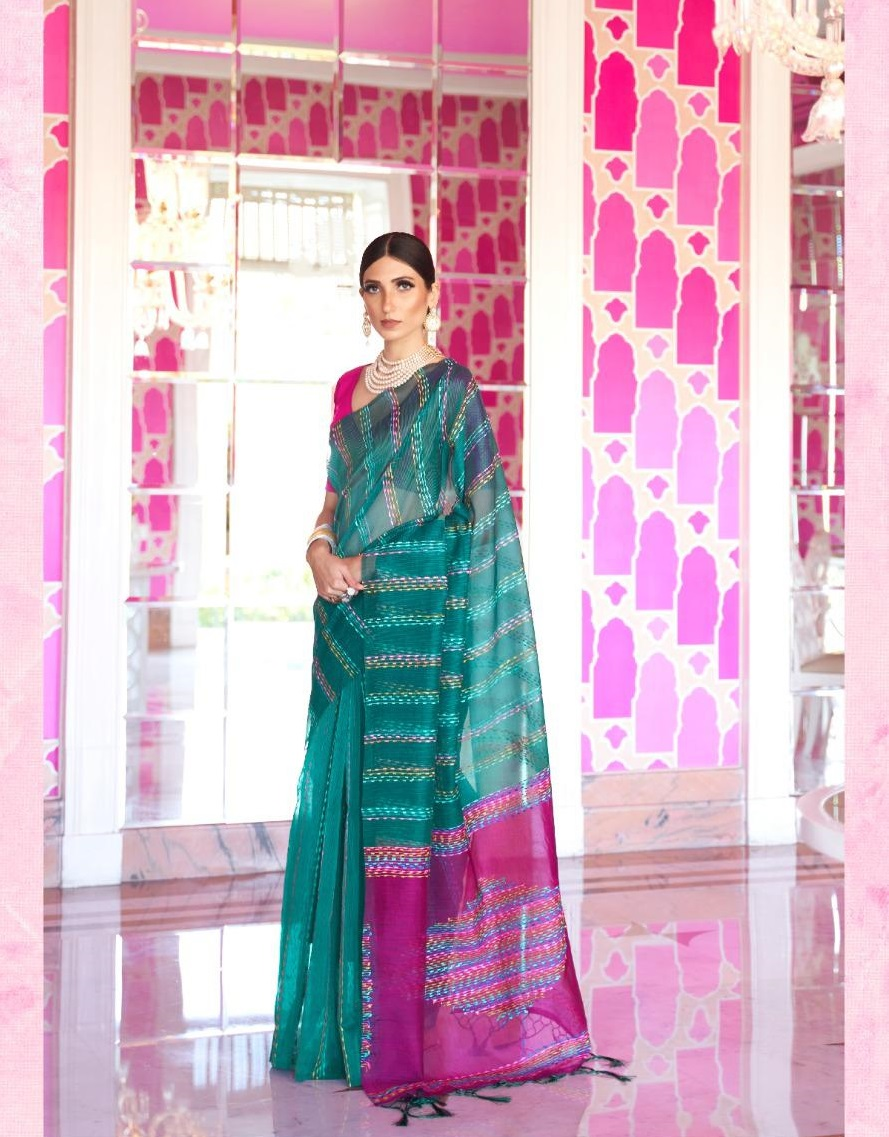 New Designer Green And Baby Pink Color At Low Price.