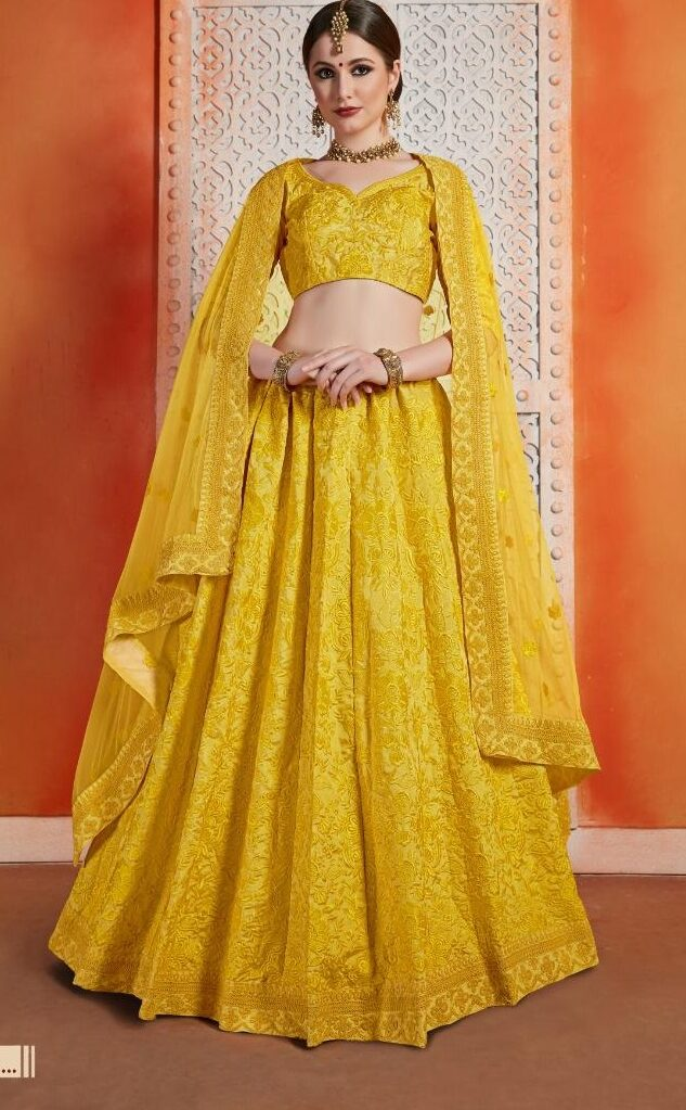 New Designer Haldi Color Party-wear lehenga With Price.
