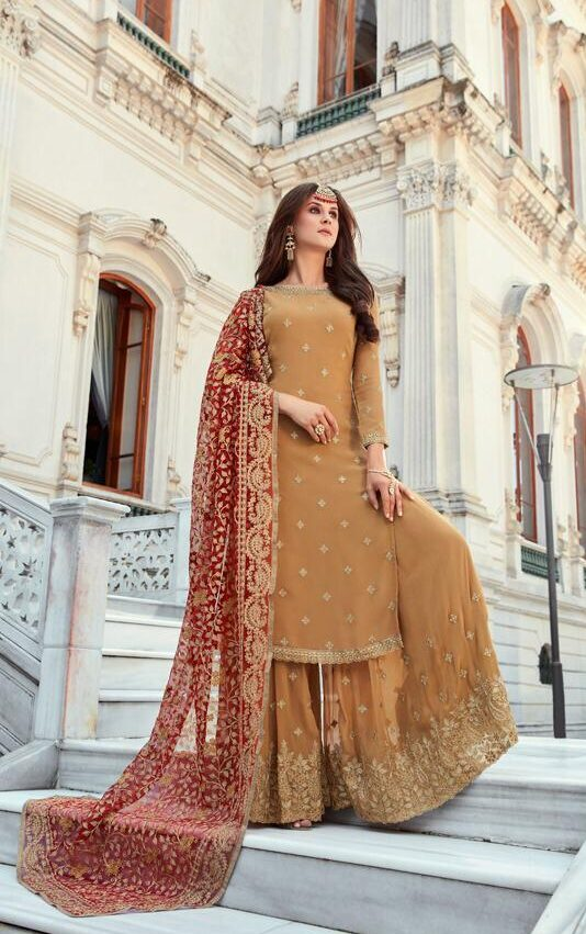 New Designer Light Brown Color Punjabi Sahara Suit With Price