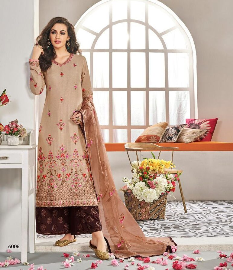 New Designer Light Brown Color Salwar Kameez With Palazzo