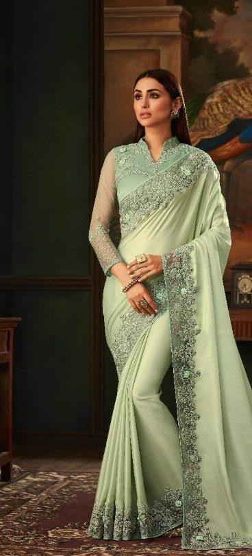 New Designer Light Grey Color Saree With Price
