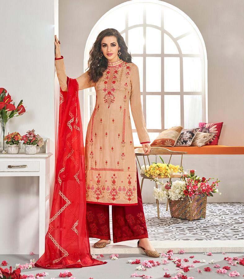 New Designer Light Red Color Heavy Work Salwar Kameez