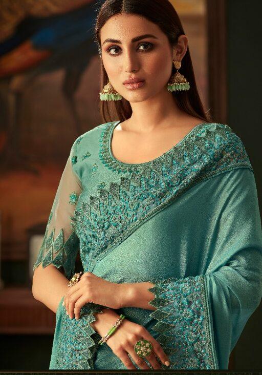 New Designer Light Sky Blue Color Saree For Girls