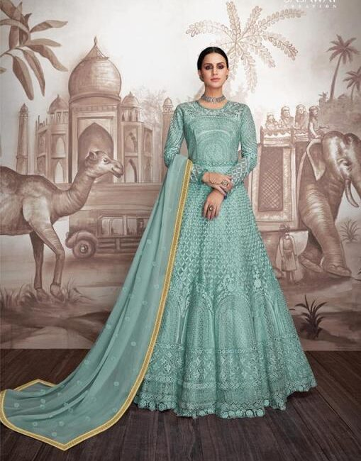 New Designer Light Sky-blue Indo-Western Gown With Price.