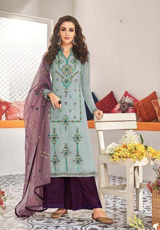 New Designer Light grey Color Heavy Work Salwar Kameez