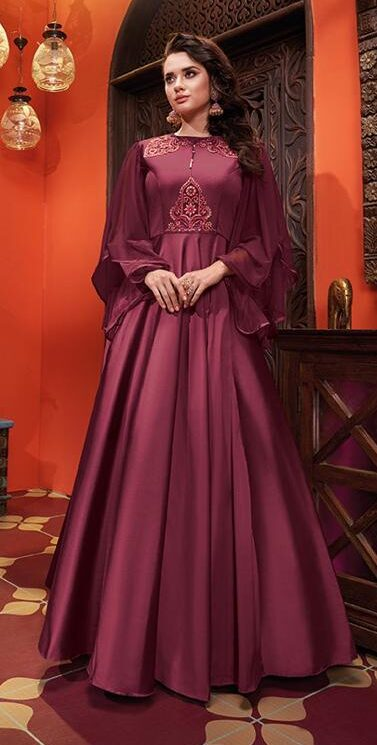 New Designer Maroon Color Indowestern Party Wear Gown