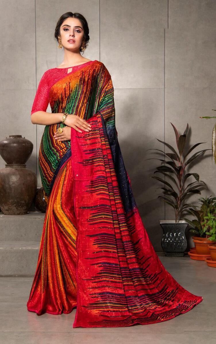 New Designer Multi Color Silk Crepe Saree Under 2000 to 1500