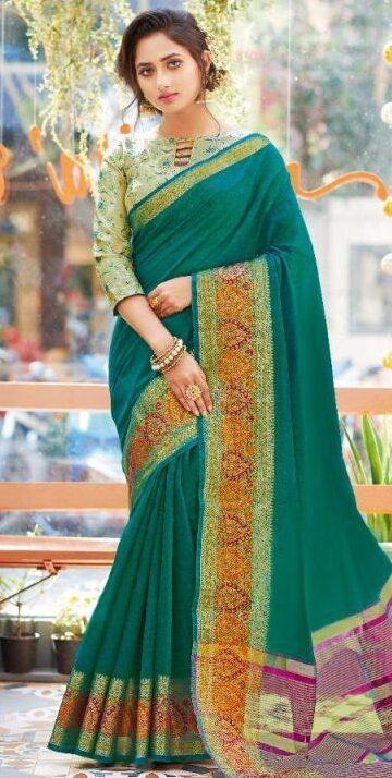 New Designer New Catalog Dark Green Color Saree With Price.