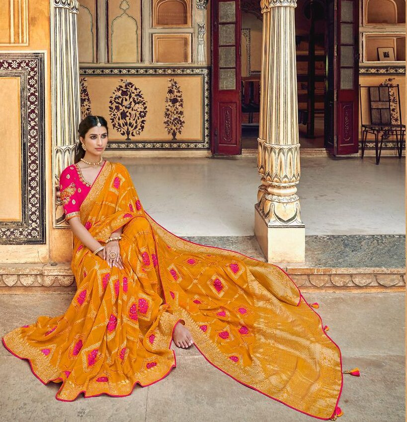 New Designer Silk Saree for Wedding with Golden Zari Embroidery