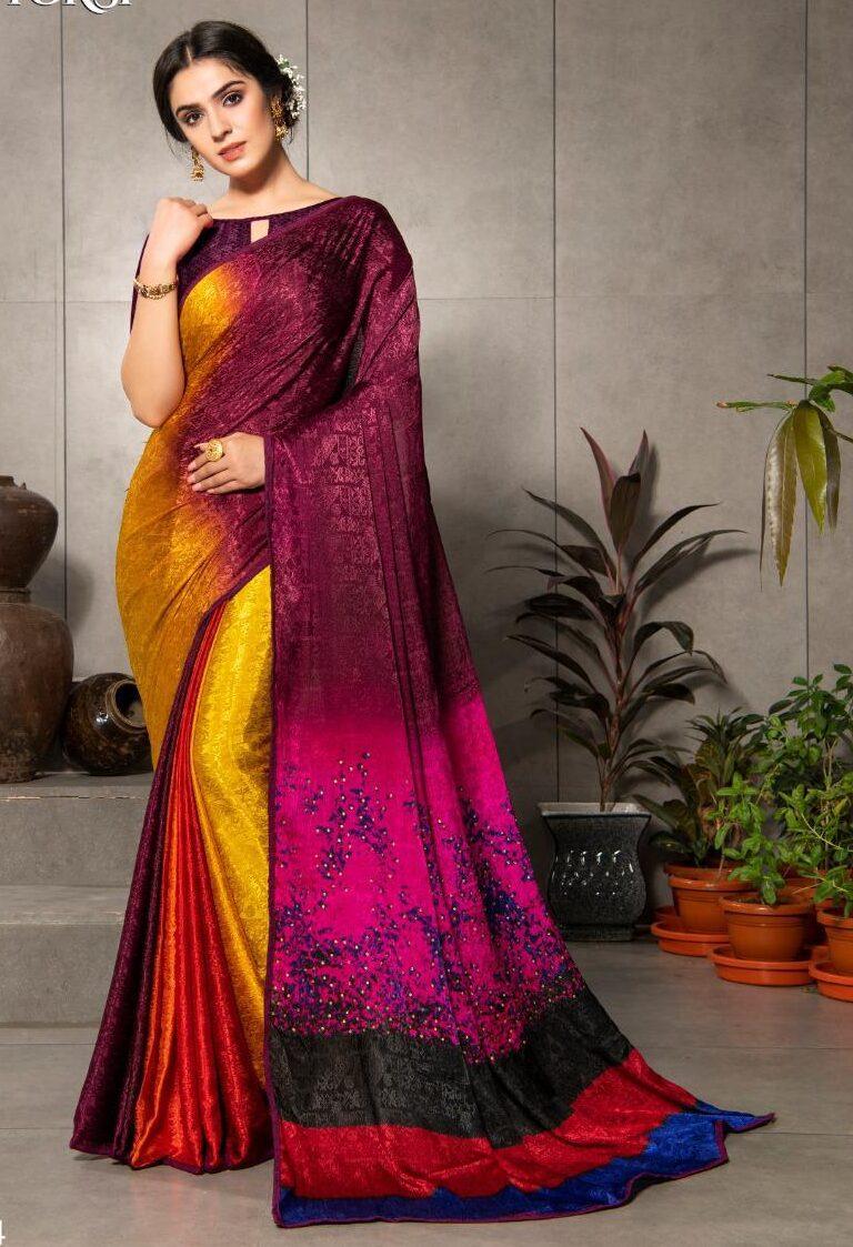 New Designer Silk Crepe Saree With Price