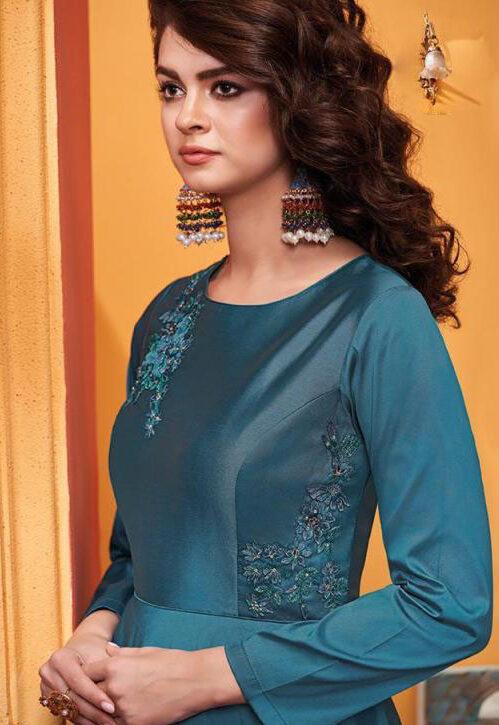 New Designer Sky Blue Color IndoWestern Party Wear Gown