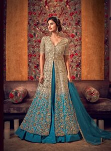 New Designer Sky blue Reception Dress for Indian bride gown